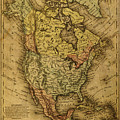 Vintage Map Of North America 1858 by Design Turnpike