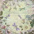 Vintage Romantic Botanical With Dragonflies by Peggy Collins