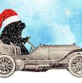 Vintage Santa Newf Holiday Card by Christine Mullis