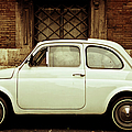 Vintage White Fiat 500 In Rome by Gollykim