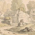 Visitors Inspecting Abbey Ruins by Thomas Rowlandson