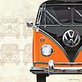 Volkswagen Type 2 - Black And Orange Volkswagen T1 Samba Bus Over Vintage Sketch  by Serge Averbukh