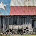 Wagon And Texas Barn by JC Findley