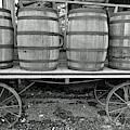 Wagon At The Depot Bw by D Hackett