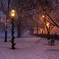 Walking The Path On Salem Ma Common by Jeff Folger