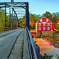 War Eagle Mill And Bridge Dusk Panorama by Gregory Ballos
