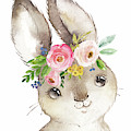 Watercolor Boho Bunny Rabbit Art Print by Pink Forest Cafe