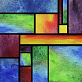 Watercolor Bright Vivid Geometry Blocks Abstract Vii by Irina Sztukowski
