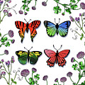 Watercolor Butterflies And Wildflowers Collection by Irina Sztukowski