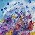 Watercolor - Colorful Flower Abstract by Cascade Colors