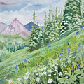 Watercolor - Fourth Of July Trail Summer Landscape by Cascade Colors