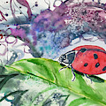 Watercolor - Lady Bug On Leaf by Cascade Colors