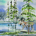 Watercolor - Moose In The Northern Woods by Lynn Cyrus