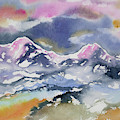Watercolor - Rocky Mountain Sunset Impression by Cascade Colors