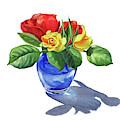 Watercolor Roses In The Blue Vase by Irina Sztukowski