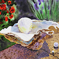 Watercolor Still Life With Shells And Pearls  by Irina Sztukowski