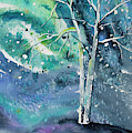 Watercolor - Tree On A Winter Night by Cascade Colors