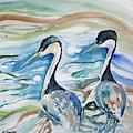 Watercolor - Western Grebe Symmetry by Cascade Colors