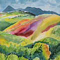 Watercolor - Wilson Mesa Landscape Impression by Cascade Colors