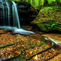 Waterfall Stair Steps In Autumn by Thomas R Fletcher