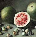 Watermelons And Figs On A Stone Ledge  by Neapolitan School
