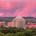 Wausau's Dudley Tower Under Pink Clouds by Dale Kauzlaric