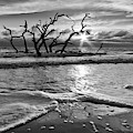 Waves At Driftwood Beach In Black And White by Debra and Dave Vanderlaan