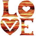 Waves Of Love Sign Watercolor Silhouette Letters Hearts  by Irina Sztukowski