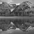 Wedge Pond Sunrise Reflections Black And White by Adam Jewell