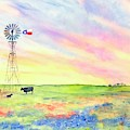 West Texas Ranch Landscape Windmill by Carlin Blahnik CarlinArtWatercolor