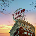 Western Auto Neon Sign At Sunrise - Downtown Kansas City by Gregory Ballos