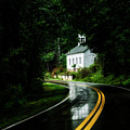 Wet Country Road And Church by Thomas R Fletcher