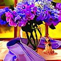 Whimsical Lavendar Floral Table Setting by Catherine Lott