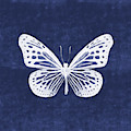 White And Indigo Butterfly- Art By Linda Woods by Linda Woods