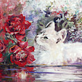 White Cat Beside Water And Red Roses. by Ryn Shell