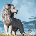 White Lion And Full Moon by Daniel Eskridge