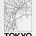 White Map Of Tokyo by Naxart Studio
