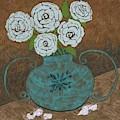 White Roses In Teal Vase by Caroline Street