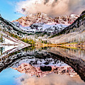 Wide Angle Maroon Bells Panoramic Landscape by Gregory Ballos