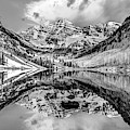 Wide Angle Maroon Bells Panoramic Landscape - Monochrome by Gregory Ballos
