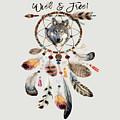 Wild And Free Wolf Spirit Dreamcatcher by Georgeta Blanaru