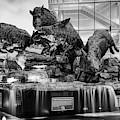 Wild Band Of Razorbacks Monument Fountain - Fayetteville Arkansas - Black And White by Gregory Ballos