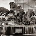 Wild Band Of Razorbacks Monument Fountain - Fayetteville Arkansas - Sepia by Gregory Ballos