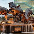 Wild Band Of Razorbacks Monument Fountain - University Of Arkansas In Fayetteville by Gregory Ballos