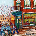 Wilensky Winter Scene Street Hockey Painting Montreal Deli Sandwich Shop C Spandau Plateau Artist    by Carole Spandau