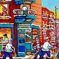 Wilensky Winter Wonderland Fairmount And Clark Street Hockey Scene Montreal Paintings C Spandau      by Carole Spandau