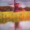 Windmill In The Morning Painting by Debra and Dave Vanderlaan