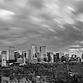 Windy Evening Calgary Downtown Bw by Bruno Doddoli