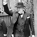 Winston Churchill Showing The V Sign by English School