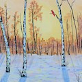 Winter Birches-cardinal Right by Monika Shepherdson